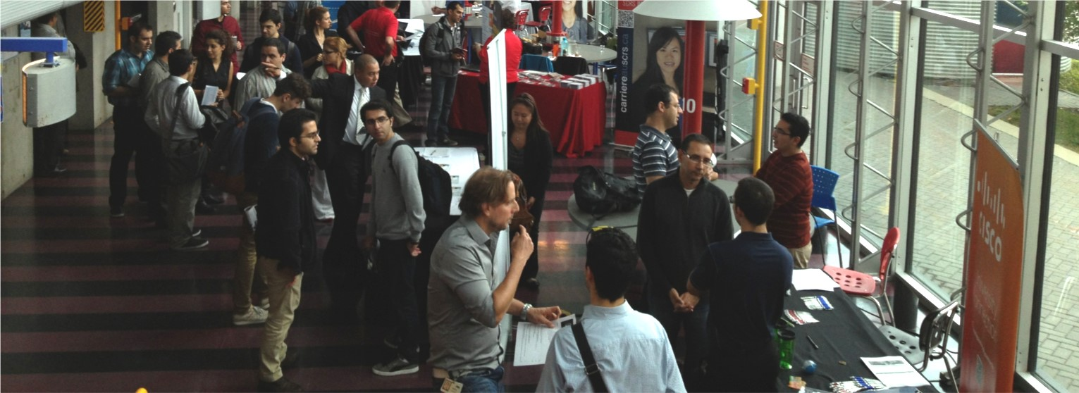 Students at networking event